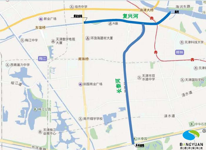 天津海绵城市建设项目河道位置示意图